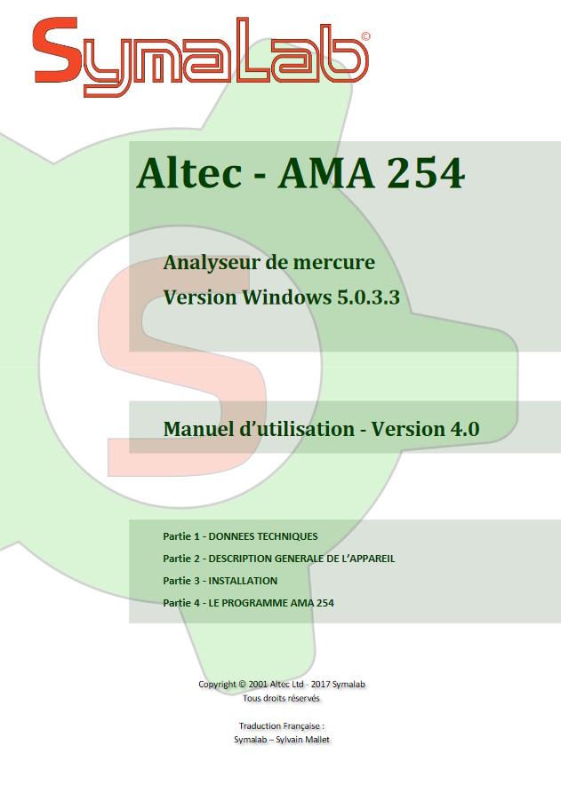 Manuel d'utilisation AMA 254 - Partie 1