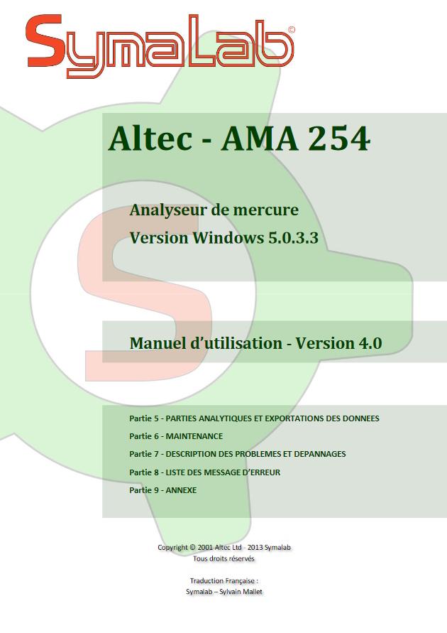 Manuel d'utilisation AMA 254 - Partie 2